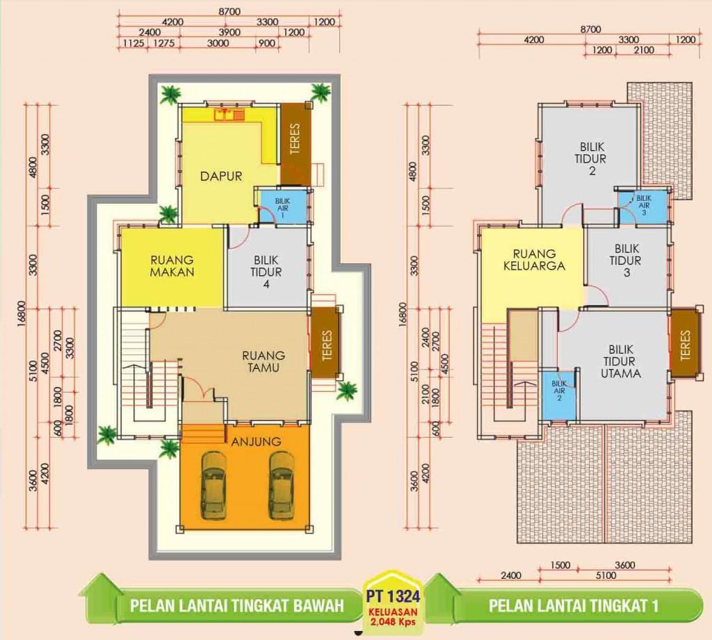 Pelan Rumah Dua Tingkat Desainrumahid